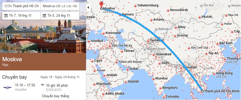 Tham khảo hành trình bay TP HCM - Moscow