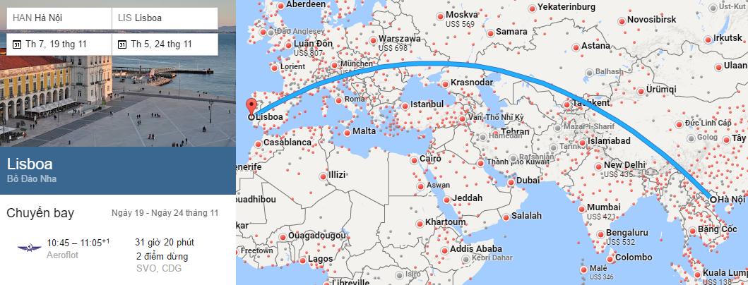 Tham khảo hành trình bay từ Hà Nội đến Lisbon