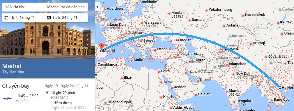 Tham khảo hành trình bay từ Hà Nội đi Madrid