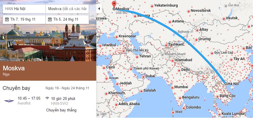 Tham khảo hành trình bay Hà Nội - Moscow