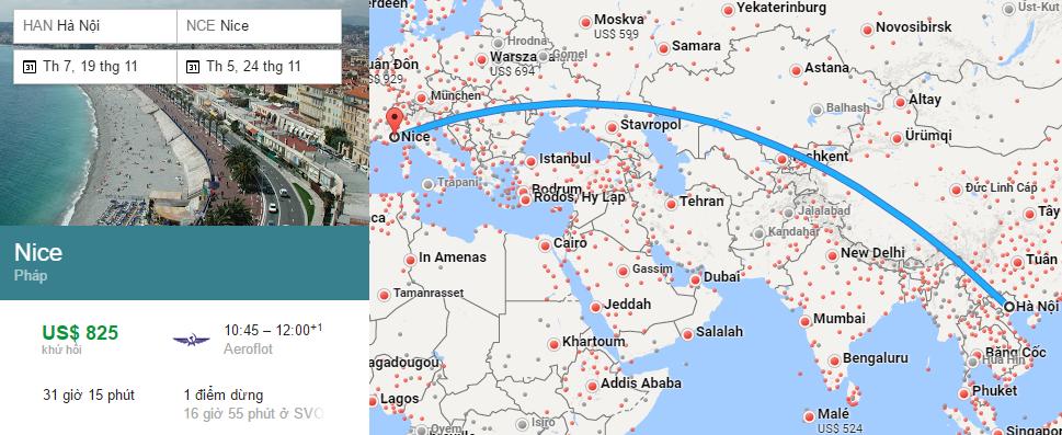 Tham khảo hành trình bay từ Hà Nội đi Nice