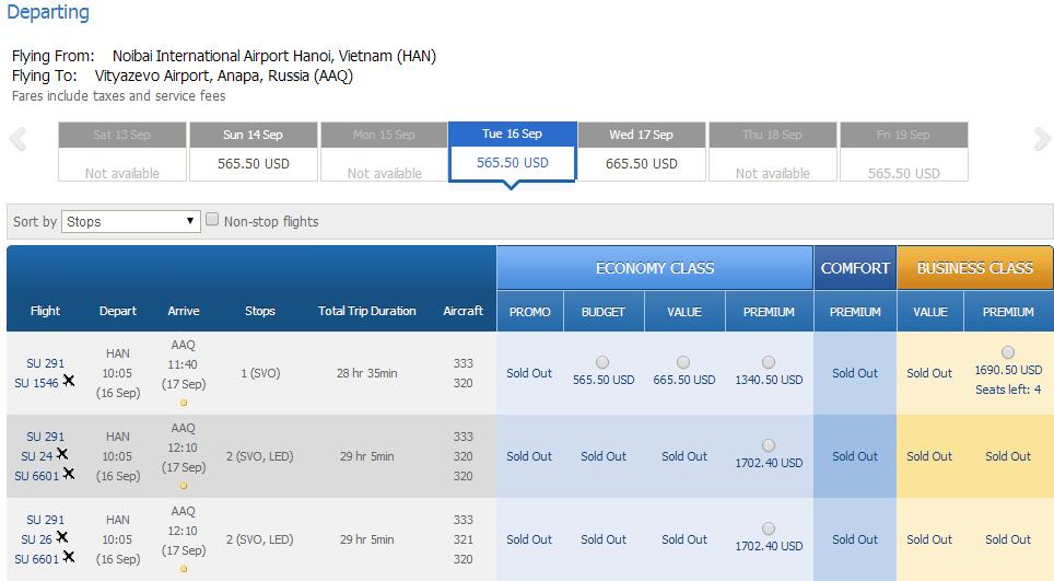 Vé máy bay đi Anapa giá rẻ