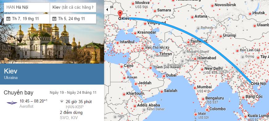 Tham khảo hành trình bay từ Hà nội đến Kiev