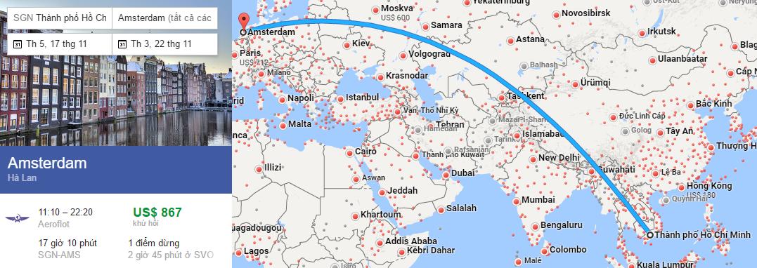 Tham khảo hành trình bay từ Hà Nội đi Amsterdam