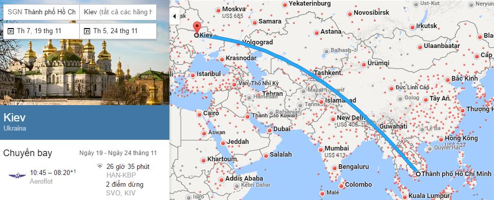 Tham khảo hành trình bay từ TP HCM đến Kiev