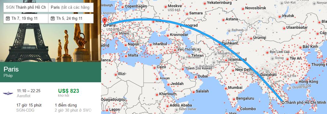 Tham khảo hành trình bay từ TP HCM đến Paris
