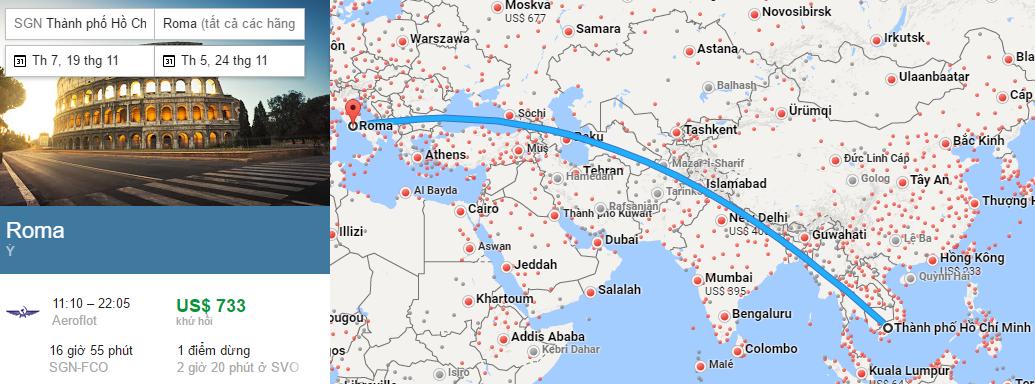 Tham khảo hành trình bay từ TP HCM đến Rome