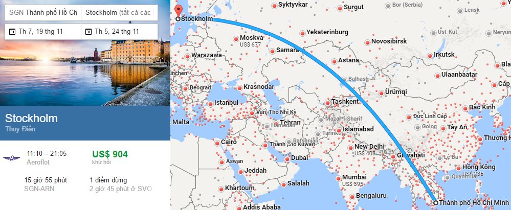 Tham khảo hành trình bay từ TP HCM đến Stockholm