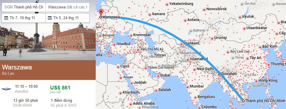 Tham khảo hành trình bay từ TP HCM đến Warsaw