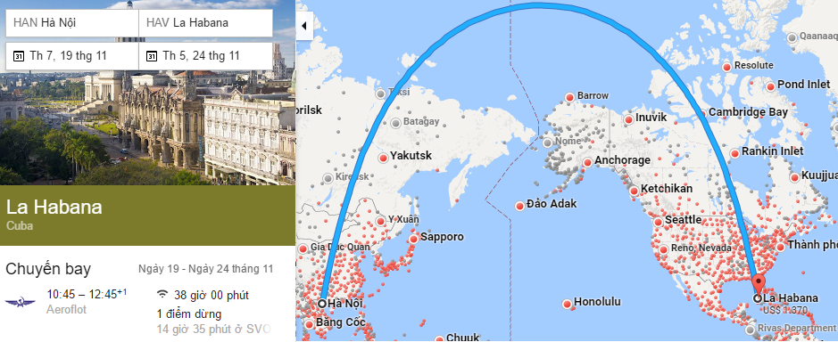 Tham khảo hành trình bay từ Hà nội đến thủ đô Havana