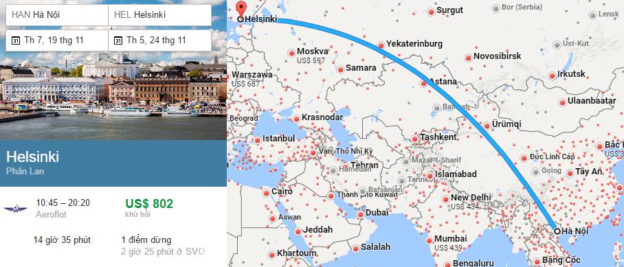 Tham khảo hành trình bay từ Hà Nội đến Helsinki