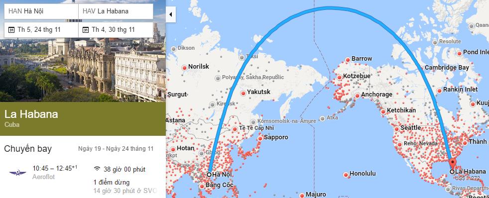 Tham khảo hành trình bay từ Hà Nội đến La Habana