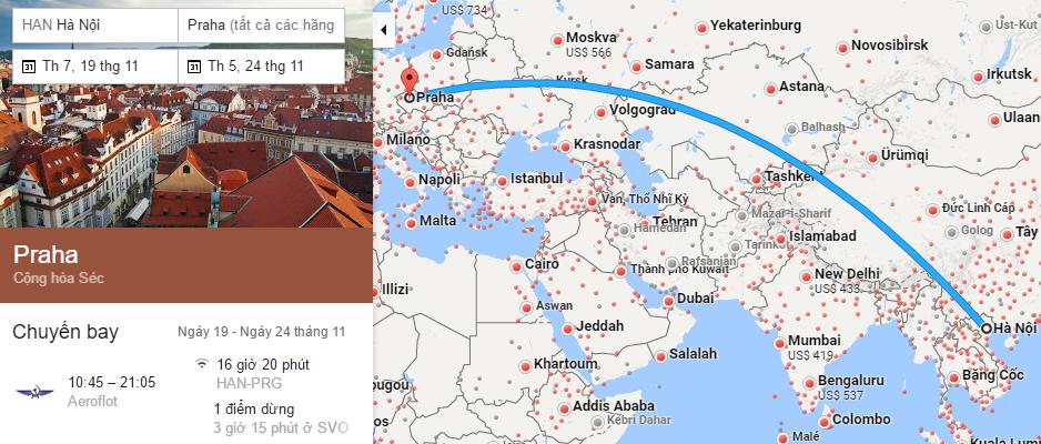 Tham khảo hành trình bay từ Hà Nội đến Prague
