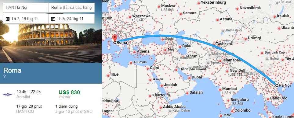 Tham khảo hành trình bay từ Hà Nội đến Roma