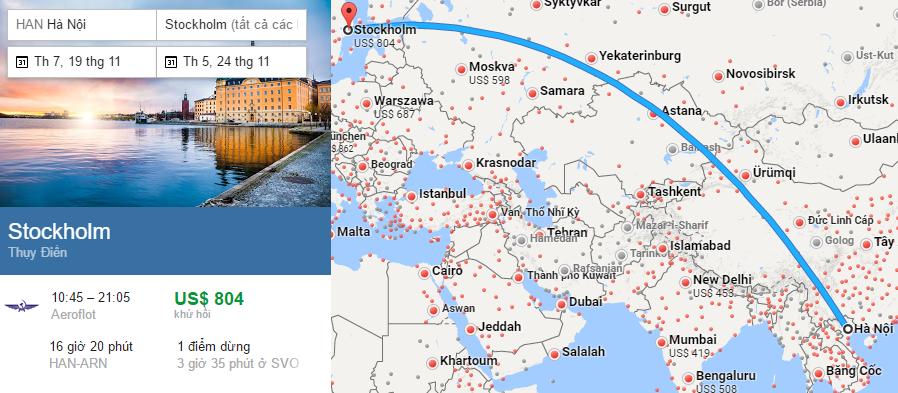Tham khảo hành trình bay từ Hà Nội đi Stockholm