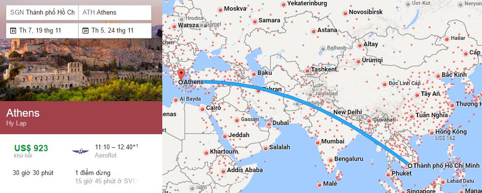 Tham khảo hành trình bay từ TP HCM đến Athens