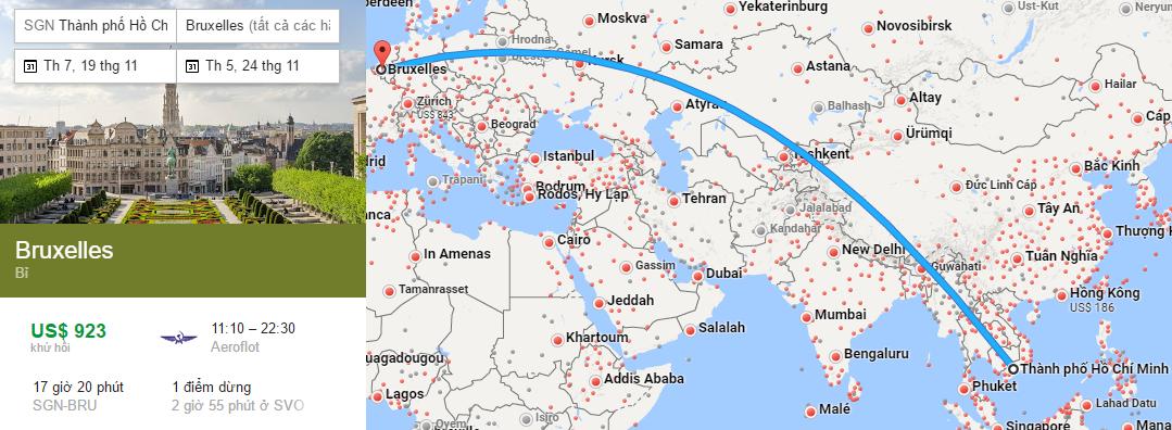 Tham khảo hành trình bay từ TP HCM đến Brussels