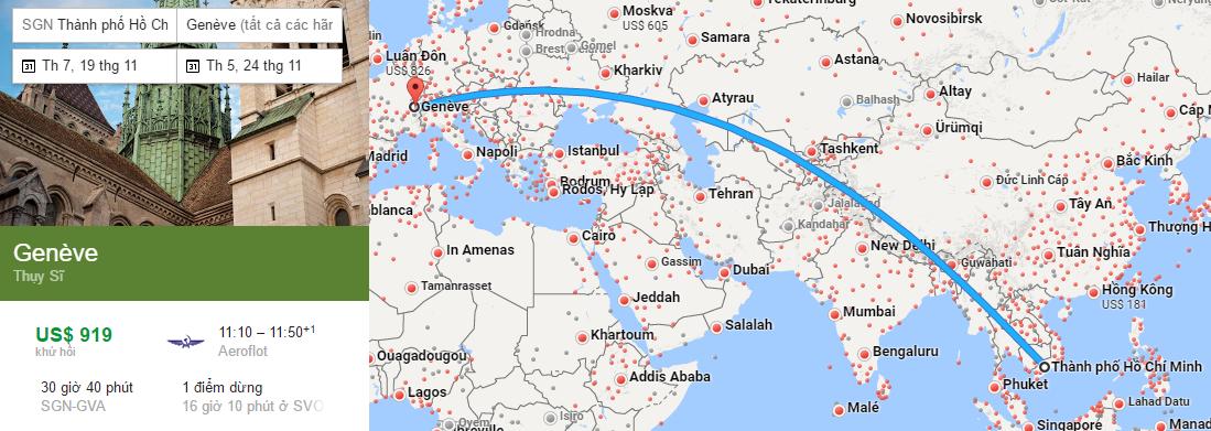 Tham khảo hành trình bay từ TP HCM đến Geneva