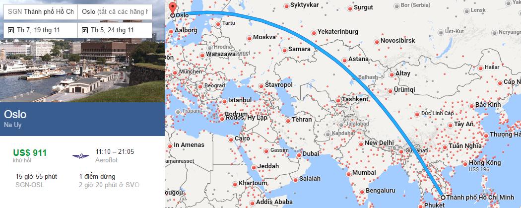 Tham khảo hành trình bay từ TP HCM đến Oslo