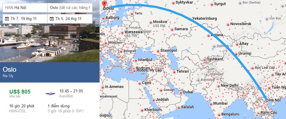 Tham khảo hành trình bay từ Hà Nội đến Oslo