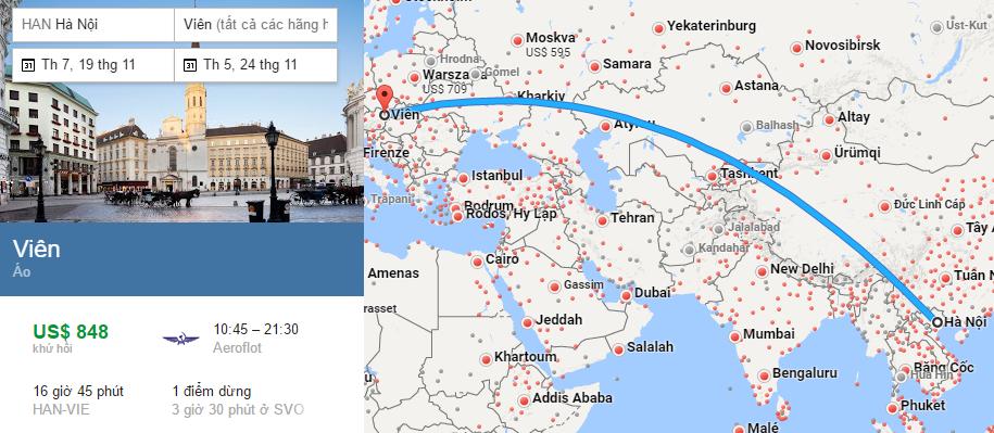 Tham khảo hành trình bay từ Hà Nội đến Viên