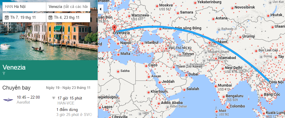 Tham khảo hành trình bay từ Hà Nội đi Venice