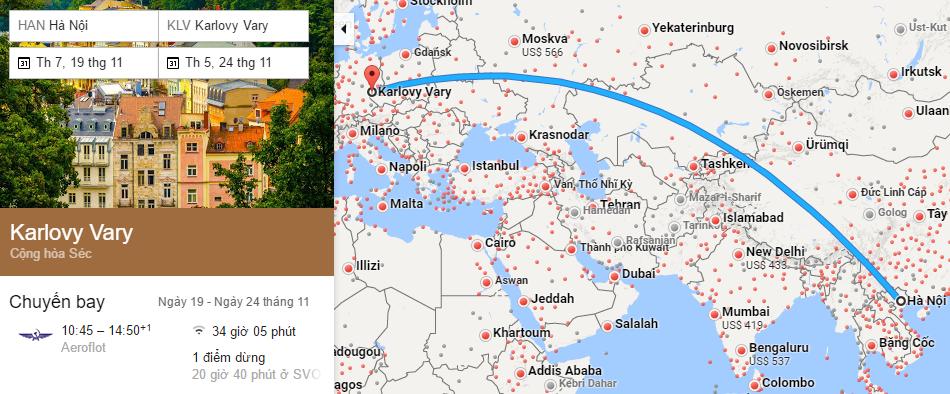 Tham khảo hành trình bay từ Hà Nội đi Karlovy Vary
