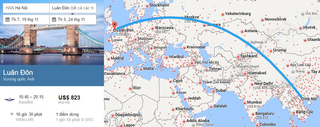 Tham khảo hành trình bay từ Hà Nội đến London