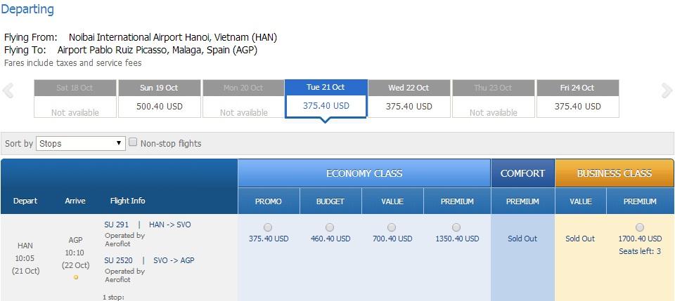 Vé máy bay đi Malaga giá rẻ