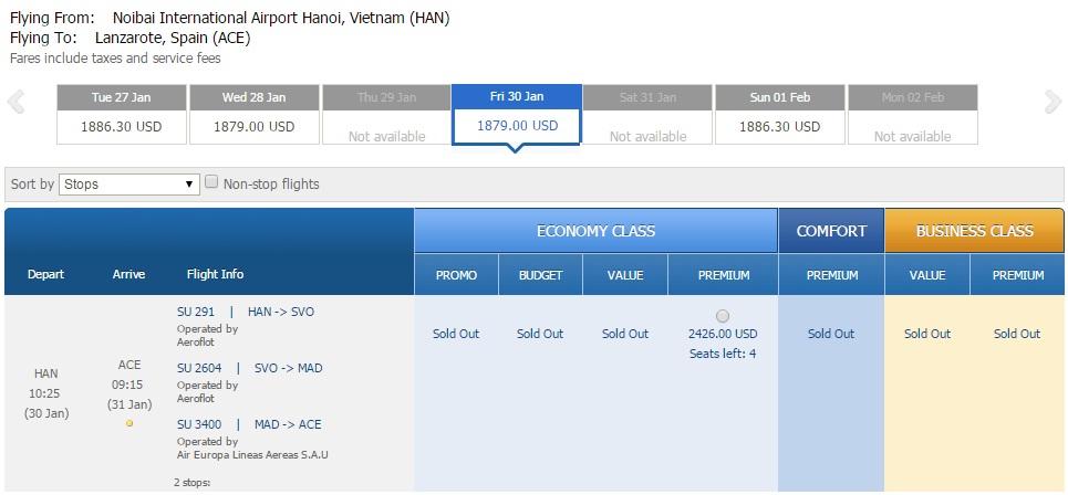 Vé máy bay đi Lanzarote giá rẻ