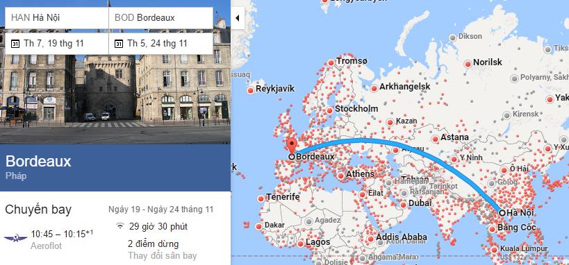 Tham khảo hành trình bay từ Hà Nội đến Bordeaux