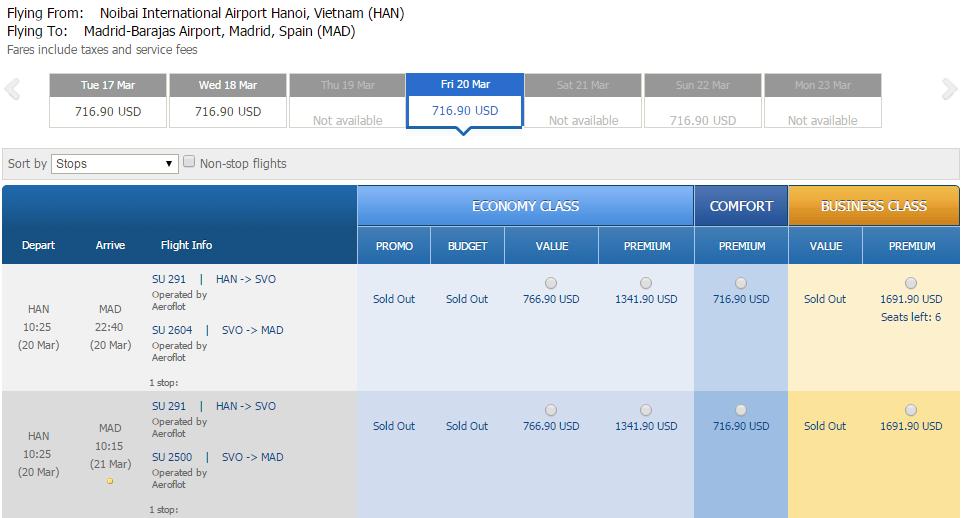 Vé máy bay đi Tây Ban Nha bao nhiêu tiền?