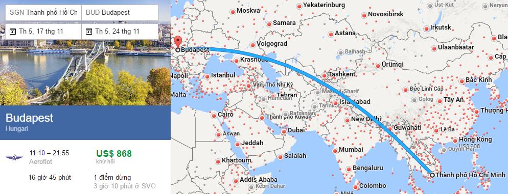 Tham khảo hành trình bay từ TP HCM đến Budapest