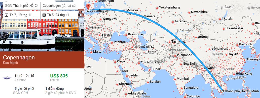 Tham khảo hành trình bay từ TP HCM đi Copenhagen