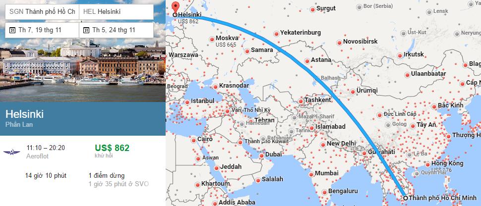 Tham khảo hành trình bay từ TP HCM đi Helsinki