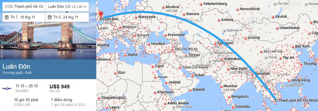 Tham khảo hành trình bay từ TP HCM đến London