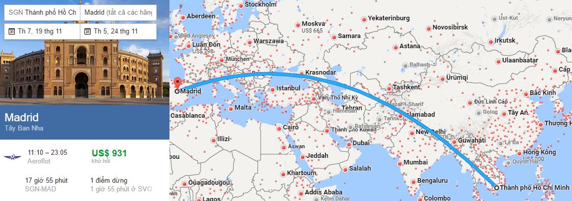 Tham khảo hành trình bay từ TP HCM đến Madrid
