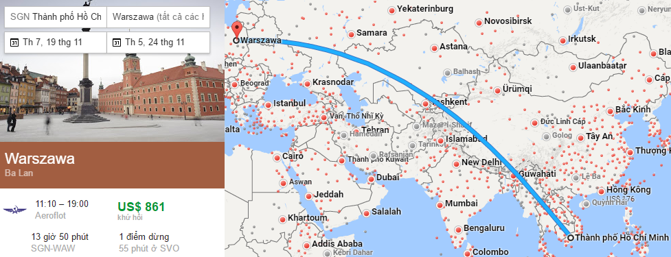 Tham khảo hành trình bay từ TP HCM đến Ba Lan bằng vé máy bay đi Warsaw
