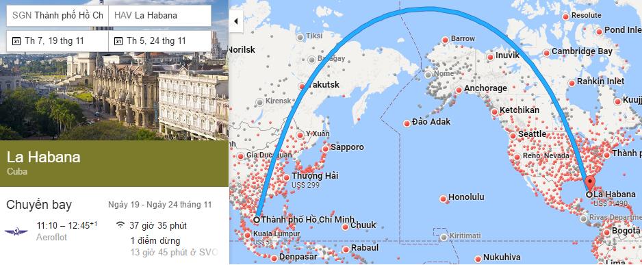 Tham khảo hành trình bay từ TP HCM đến Havana