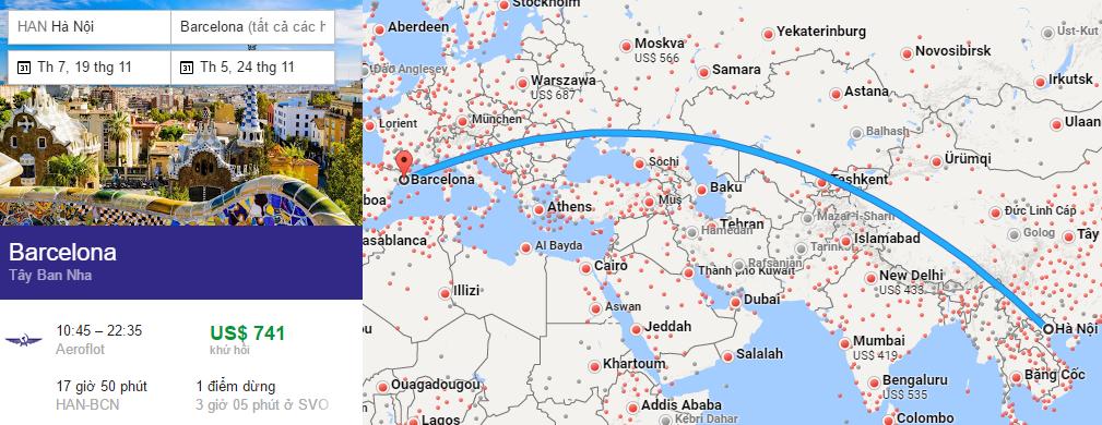 Tham khảo hành trình bay từ Hà Nội đến Barcelona