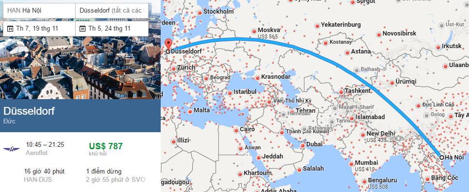 Tham khảo hành trình bay từ Hà Nội đến Dusseldorf