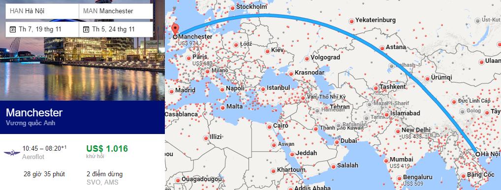 Tham khảo hành trình bay từ Hà Nội đi Manchester