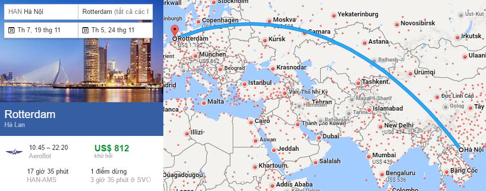 Tham khảo hành trình bay từ Hà nội đi Rotterdam