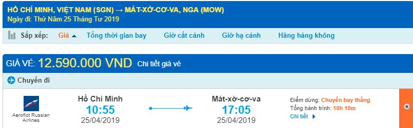 Giá vé máy bay hành trình Hồ Chí Minh đi Moscow