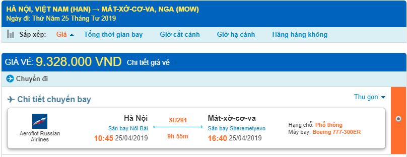 Giá vé máy bay từ Hà Nội đi Moscow chi tiết