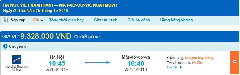 Giá vé máy bay từ Hà Nội đi Moscow
