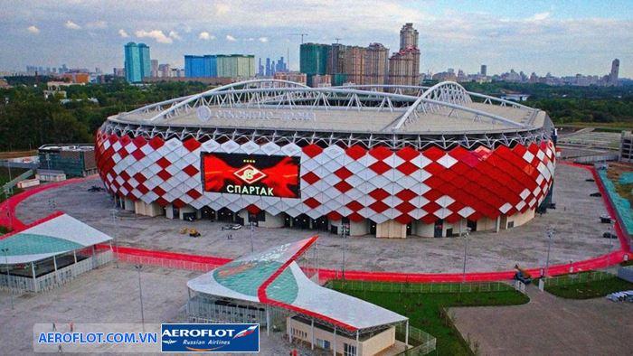 Spartak, Moscow có thiết kế ấn tượng với hàng trăm mảnh ghép đỏ trắng